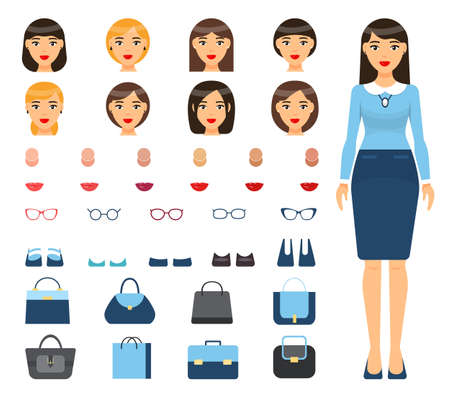 Portrait of businesswoman in formal wear. Set with changeable elements, constructor. Different haircuts, hairstyle, type of skin, color of lipstick, eyeglasses set, shoes, office or female bags Illustration