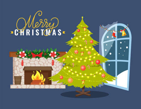 Stone fireplace decorated spruce branch, candy cane and pine cone. Fir-tree adorned garlands and Christmas toys near window with snowy view vector Vektorgrafik