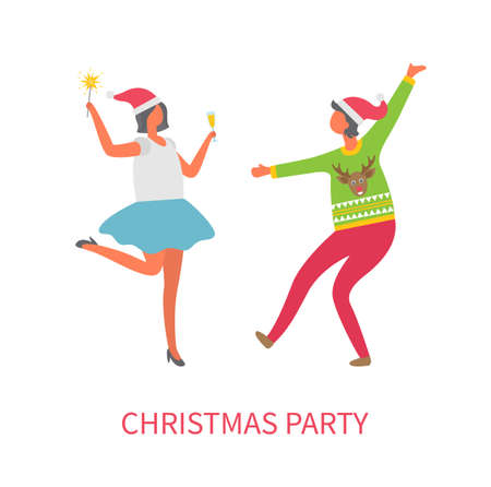 Christmas party celebration of people, friends having fun dancing vector. Woman wearing knitted warm sweater with polar reindeer, lady with drink Illusztráció