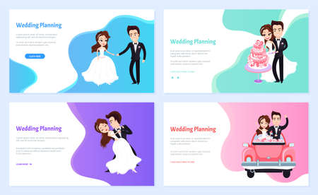 Wedding planning vector, man and woman dancing on ceremony, bride and groom riding car and cutting freshly baked cake on special event set. Website or webpage template, landing page flat style 矢量图像