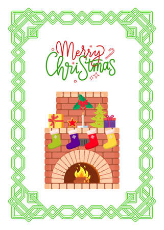 Merry Christmas fireplace decorated with presents vector. Greeting card with frame and mistletoe, burning fire and socks with gifts, evergreen spruce