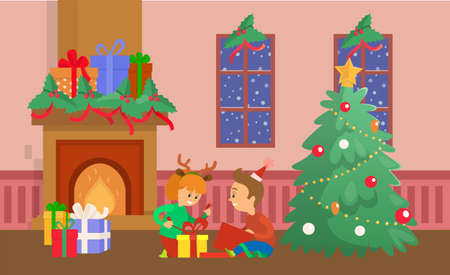 Christmas holiday celebration children and gifts vector. Unpacking presents, fireplace with boxes decorated with ribbon bows, snowy weather outside
