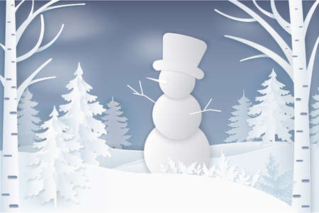 Snowman standing in forest with evergreen pine and birches vector. Snow balls character wearing top han having hands branches snowy weather in evening wood, paper art and craft style