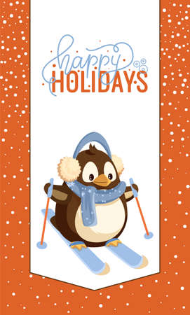 Happy holidays greeting card, penguin in earmuffs and scarf on skis with sticks. Dressed bird doing winter sport, outdoor activity and animal vector