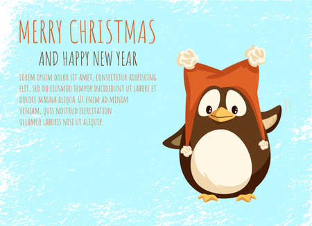 Merry Christmas and Happy New Year greeting card cheerful penguin in funny hat with furry balls and waving hand. Animal in big red cap with pompons, vector 矢量图像