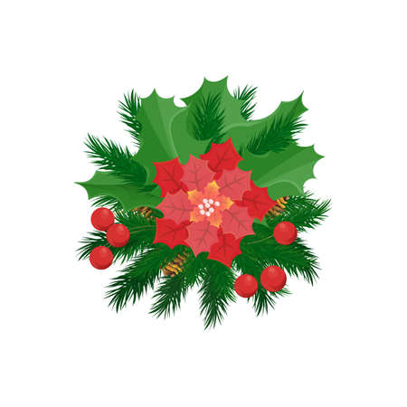 Christmas decoration, poinsettia red flower and mistletoe holly berries vector isolated icon. Spruce branches, pine cones, New Year and Christmas decorative element 矢量图像