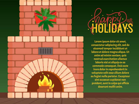Happy holidays postcard, fireplace with fire burning inside brick arch, vector. Home interior furniture decorated by green wreath of spruces and mistletoe with bow