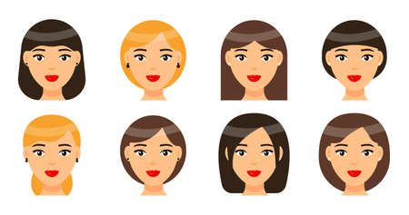 Set of women types of haircuts or hairstyles. Brunette, brown-haired and blonde girls. Avatars of beautiful ladies with red lips and earrings. Short or long hairstyle. Collection of cartoon portraits Vector Illustratie