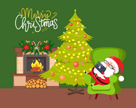 Santa sitting on green armchair with tablet near fireplace decorated by hanging toys, holiday spruce and fir-tree. Merry Christmas card with Claus vector