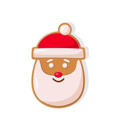 Gingerbread smiling head of Santa in red hat with fur vector baked cookie icon isolated on white. Traditional holiday shape of confectionery dessert