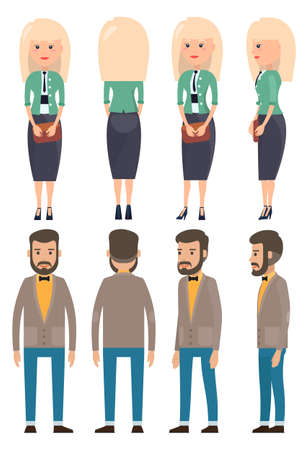 Collection of vector cartoon characters. Stylish businesswoman and businessman, view from front, back sides. Set of businesspeople wearing office suit, accessories. Dresscode of business person