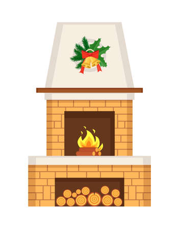 Fireplace home interior decorated for Christmas vector. Winter holiday decoration, mistletoe leaves and bell with bow ribbons. Furniture with logs