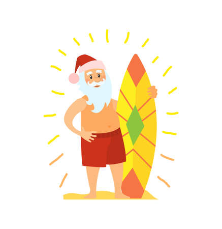 Santa Claus and surfing board, Christmas character on summer rest. Vector Saint Nicholas surfer in tropical country, man in hat and beard, vector