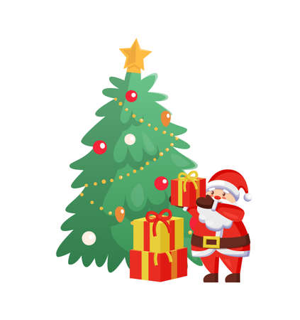 Merry Christmas celebration tree with Santa Claus vector. Winter character packing gifts, presents with wrappings and bows ribbons. Pine and male Illusztráció