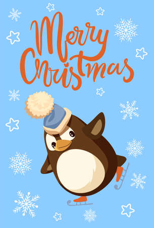 Merry Christmas penguin wearing fluffy hat poster with greeting vector. Snowflakes and starry ornaments, skating animal with smooth feathers hobby