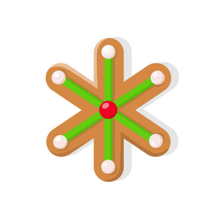 Christmas cookie of bright green snowflake with white and red points. Winter holiday gingerbread, traditional shape of baking icon vector isolated