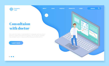 Landing page of website. Checking vision in virtual medical cabinet in oculist with laptop. Ophthalmologist with pointer near chart eye. Online medical help at distance. Flat style illustration Çizim