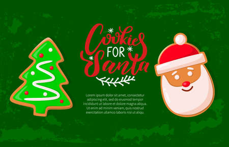 Gingerbread cookies for Santa, Christmas holiday banner. Xmas tree or fir, glaze and crispy cakes, winter traditional homemade treat or dessert vector