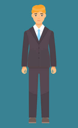 Isolated cartoon character businessman wearing stylish brown suit, blue tie. Man in jacket and trousers, white shirt. Business person style. Dresscode of office worker. Blond-haired guy, cloth element Illustration