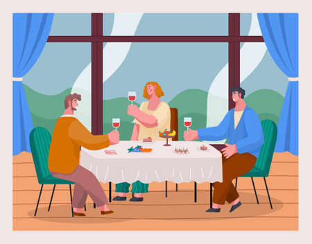 Happy people celebrating important event sitting at table near panoramic window in restaurant or home. Woman and men holding glass with red wine talking. Fruits, canapes at table. Meeting at wine