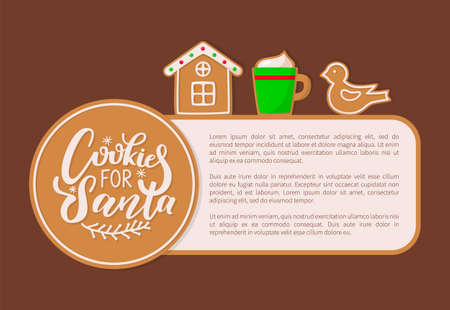 Merry Christmas house and bird cookies made of ginger vector. Gingerbread biscuits Christmas holidays wintertime celebration, mug with beverage text