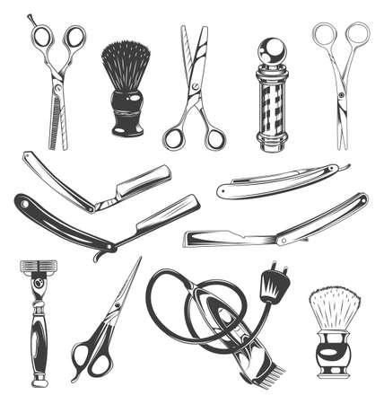 Set of barbershop tools, instruments, symbols. Different scissors for cutting hair, shaving brush, barber s pole, sharp razor blades for beard, shaver, electric razor. Barber professional equipment