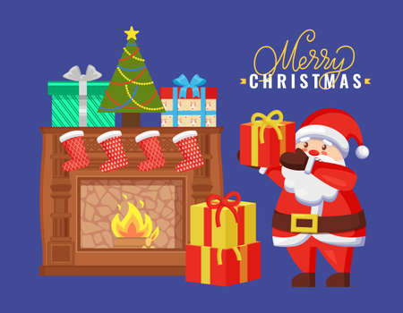Merry Christmas card, Santa holding girt box near burning fireplace decorated by colorful socks, gift boxes with wrapped ribbons and fir-tree vector 矢量图像