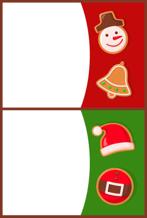 Merry Christmas greeting, gingerbread cookies in shape of snowman and jingle bell, Santa hat and belt. Winter holiday treat or dessert of dough vector 矢量图像