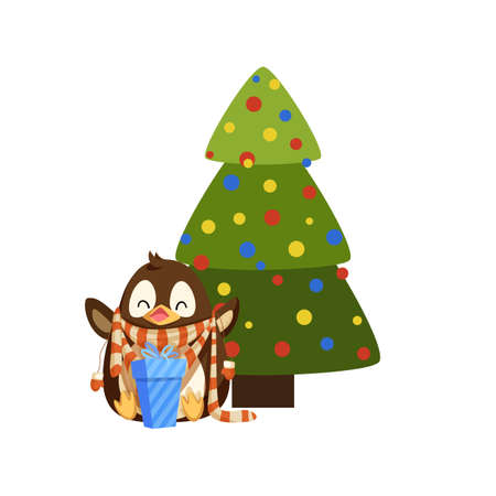 Penguin in scarf and mittens with gift box near Christmas tree. Decorated fir and bird in winter clothes with present, New Year celebration vector