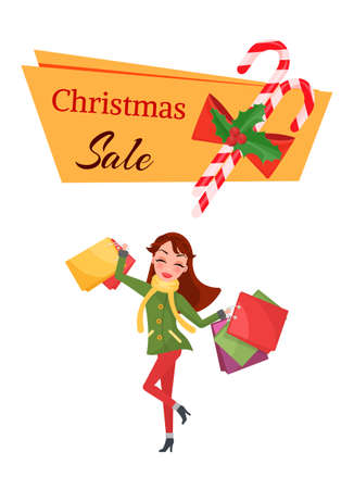 Christmas sale with decorations of candy and sweet. Cheerful woman in overcoat with scarf and jeans with high boots holding big packages vector isolated 矢量图像