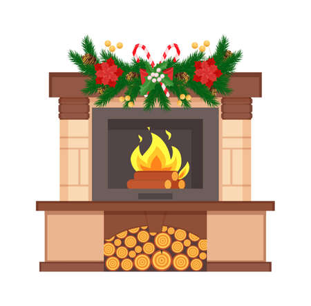 Fireplace with burning logs decorated with branches vector. Stars origami and lollipop candies decor, pine tree needles, snowflake Christmas holiday 矢量图像