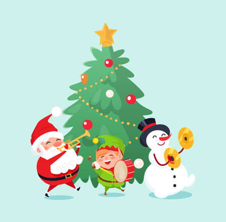 Merry Christmas winter holiday celebration characters singing and having fun vector. Santa Claus and snowman, elf helper with drums, caroling songs