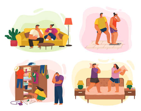 Life of young couple, collection of illustrations, happy woman, man eating popcorn relaxing at sofa, girl standing at scales, guy jokes at girlfriend, I have nothing to wear, fighting pillows at bed Illusztráció