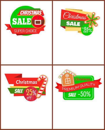Set of Christmas discount web icons. Sale from 25 to 55 percents and super choice. Price tags with cookies of house and candy, snowflake and belt vector 矢量图像