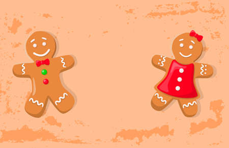 Holiday gingerbread of man and woman, smiling girl in bright dress and boy with bow and buttons. Holly paper card with traditional cookies vector