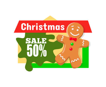 Christmas sale 50 percent off discount, gingerbread boy sweet cookie and price tag with info about discounts. Half cost reduce advertisement label