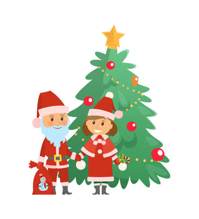Christmas holiday approaching, Santa Claus by evergreen tree vector. Decorated fir with baubles and balls, star on top, Snow maiden and man with sack