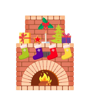 Fireplace with fire burning inside brick arch, vector. Decoration of home interior on Christmas, Santa stockings, fir-tree and color socks, gift boxes