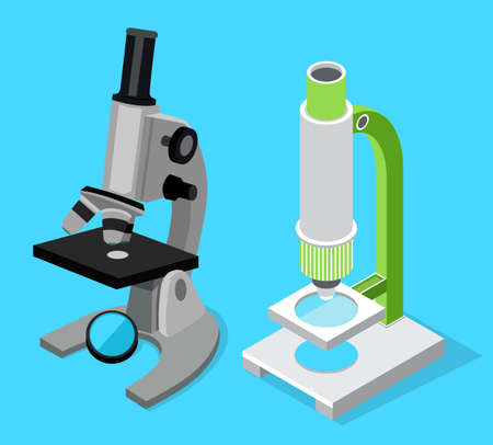 Set of two modern microscopes, medical scientific microbiology equipment for research, isolated 3d isometric icons. Magnifying glass. Equipment for laboratory. Instrument for science researching