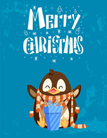 Penguin in scarf and mitten with gift box, Christmas card. New Year present and dressed Arctic bird, snowflakes and winter holiday congratulation vector