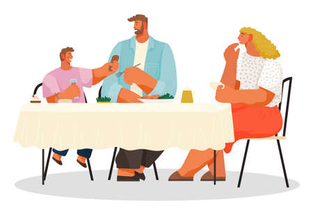 Family have lunch in restaurant or cafe, people eating delicious food, little boy give food to father, parents and children during dinner, people enjoy of meal, hungry father, mother and son eat