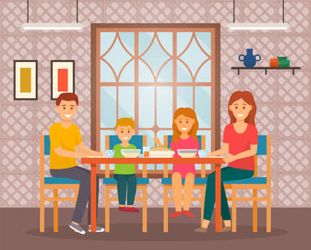 Happy family eating sitting at table in cafe. Mother, father, little girl and boy smiling. Breakfast, lunch or dinner time. Happy people spend time weekends together, enjoy of company, relaxing