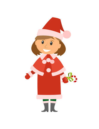 Winter character, Snow Maiden holding sweets candy vector.