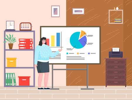 Presentation, woman show financial plan standing in office. Ilustração Vetorial