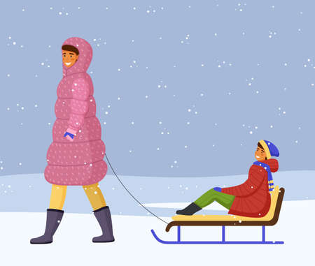 Woman in pink warm down jacket and boots rides girl in red warm jacket, scarf on sled. Snowflakes, snowfall, winter time. Games on the fresh frosty air. Mom and daughter. White snow background
