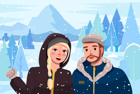 Girl with man on winter suburban landscape. Cute couple walk in the forest at the foot of the mountains in winter time. People wearing in warm jackets with a hood, woman smiling waving hand