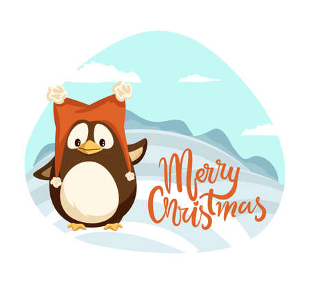 Merry Christmas penguin wearing warm hat winter holiday vector. Landscape with hills covered by snow, snowy weather character wildlife scenery, wintertime 向量圖像