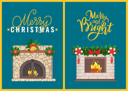 Merry Christmas celebration atmosphere of home interior vector. Fireplace decorated with branches of pine and leaves of mistletoe stars toy and bells Vector Illustratie