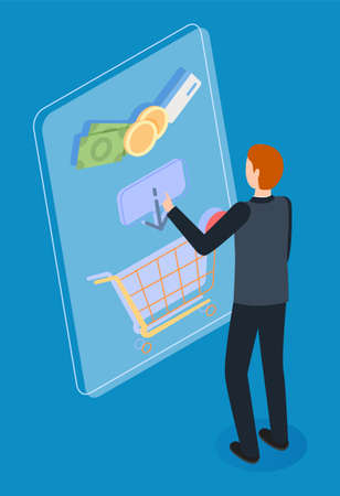 Male slender character in black suit, back view, stands and chooses shopping on large conceptual screen. Shopping basket, money symbol, product. Customer buys goods in online store. Customer journey