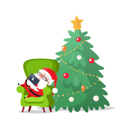 Merry Christmas Santa Claus laying on armchair sleeping vector. Tired old man with laptop and sign of pine evergreen tree. Decorated fir baubles and balls